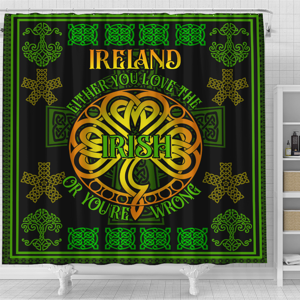 Personalized Lovely Shower Curtain St Patrick's Day Either You Love The Irish Pattern 1 Set 12 Hooks Decorative Bath Modern Bathroom Accessories Machine Washable