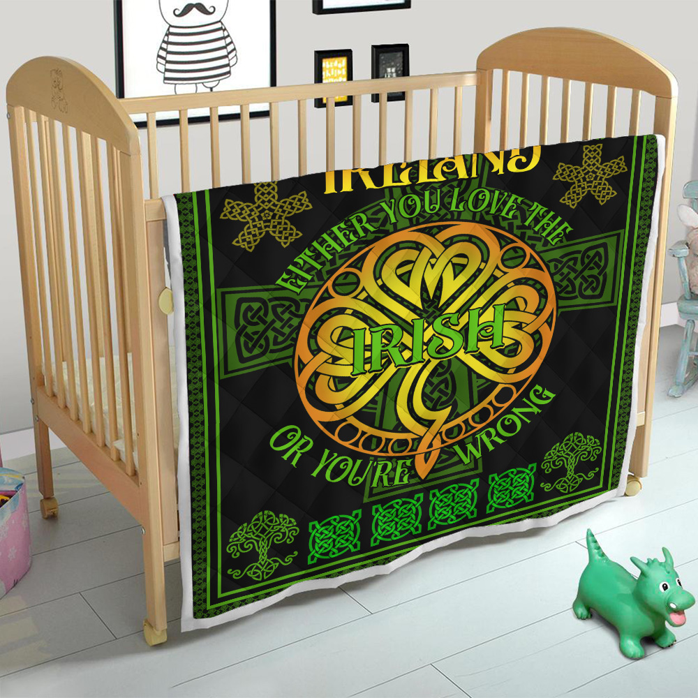 Personalized Lovely Quilt Throw Blanket St Patrick's Day Either You Love The Irish Pattern 1 Lightweight Super Soft Cozy For Decorative Couch Sofa Bed
