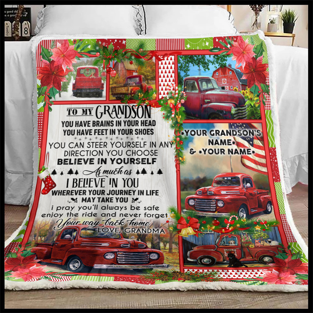 Personalized Fleece Throw Blanket To My Grandson Believe In Yourself As Much As I Believe In You Pattern 1 Lightweight Super Soft Cozy For Decorative Couch Sofa Bed