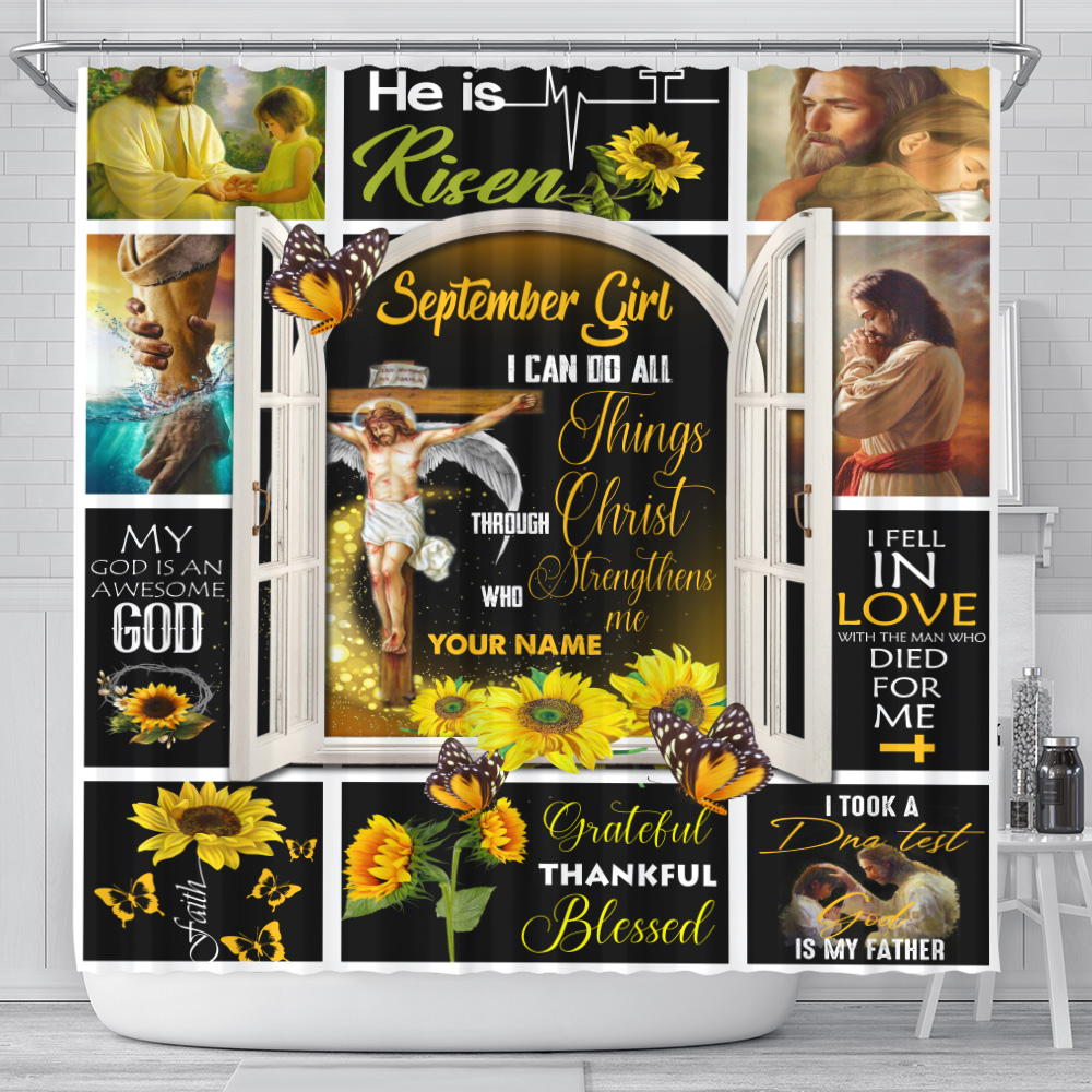 Personalized Shower Curtain September Girl I Can Do All Things Through Christ Who Strengthens Me Pattern 1 Set 12 Hooks Decorative Bath Modern Bathroom Accessories Machine Washable