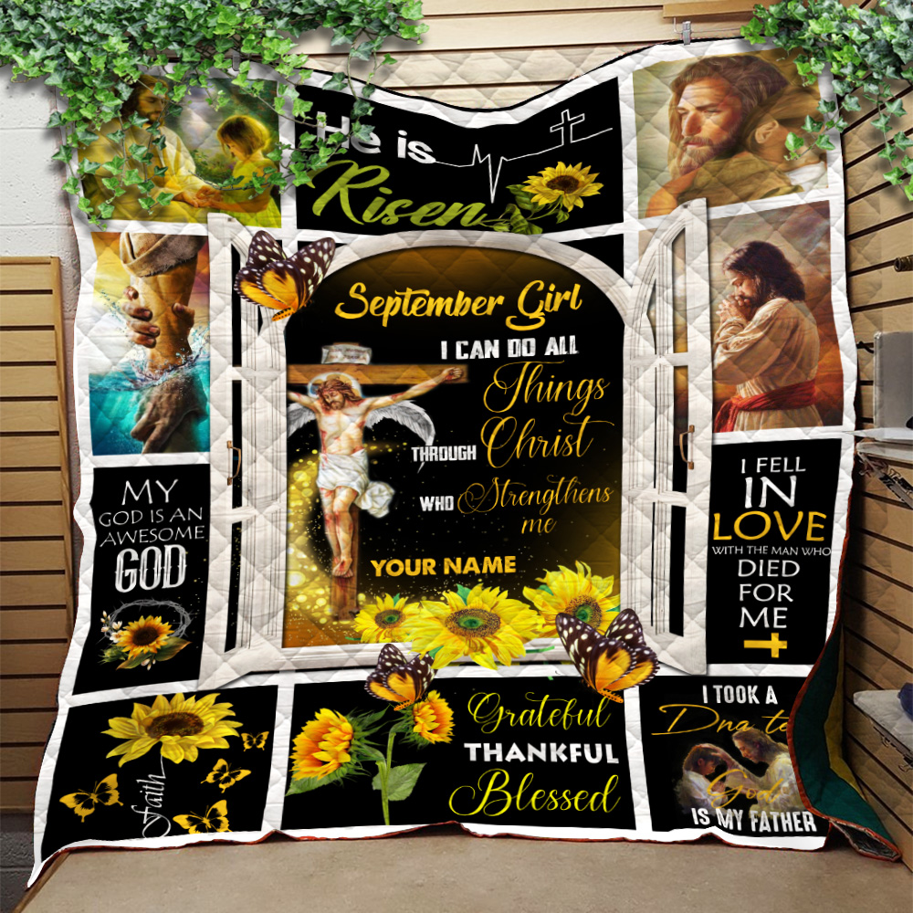 Personalized Quilt Throw Blanket September Girl I Can Do All Things Through Christ Who Strengthens Me Pattern 1 Lightweight Super Soft Cozy For Decorative Couch Sofa Bed