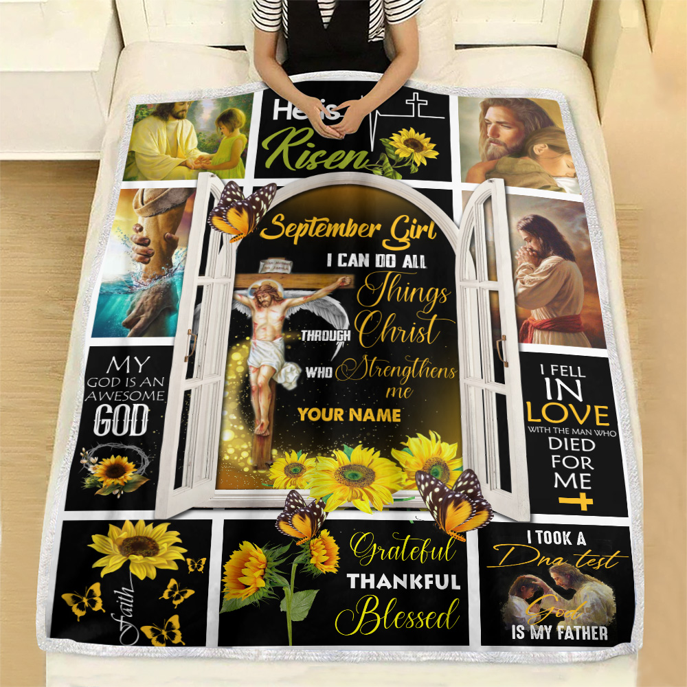 Personalized Fleece Throw Blanket September Girl I Can Do All Things Through Christ Who Strengthens Me Pattern 1 Lightweight Super Soft Cozy For Decorative Couch Sofa Bed