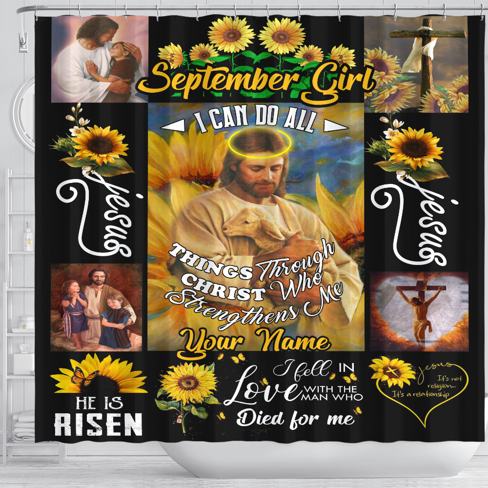 Personalized Shower Curtain September Girl I Can Do All Things Through Christ Who Strengthens Me Pattern 2 Set 12 Hooks Decorative Bath Modern Bathroom Accessories Machine Washable