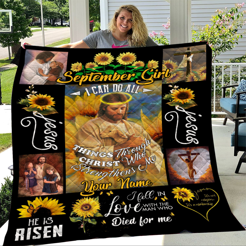 Personalized Quilt Throw Blanket September Girl I Can Do All Things Through Christ Who Strengthens Me Pattern 2 Lightweight Super Soft Cozy For Decorative Couch Sofa Bed
