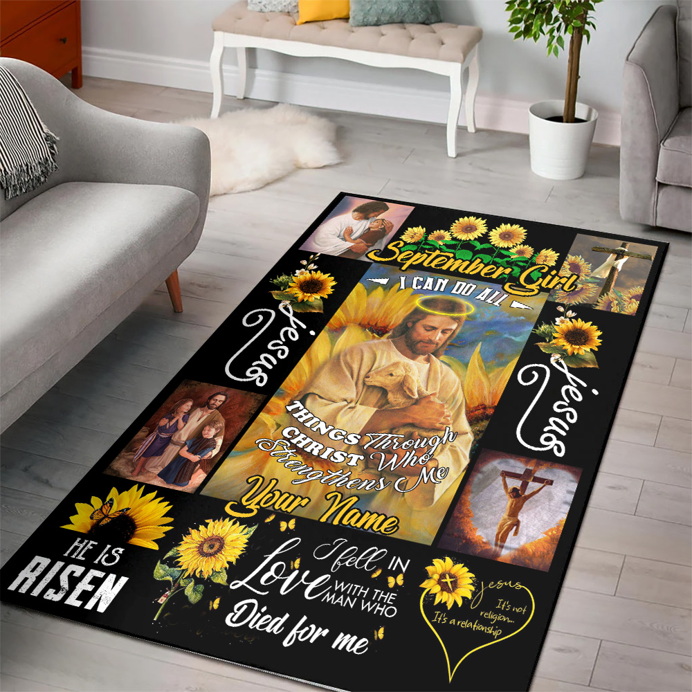Personalized September Girl I Can Do All Things Through Christ Who Strengthens Me Pattern 2 Vintage Area Rug Anti-Skid Floor Carpet For Living Room Dinning Room Bedroom Office