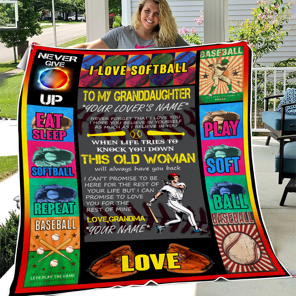 Personalized Fleece Throw Blanket To My Softball Granddaughter This Old Woman Will Always Have Your Back Lightweight Super Soft Cozy For Decorative Couch Sofa Bed