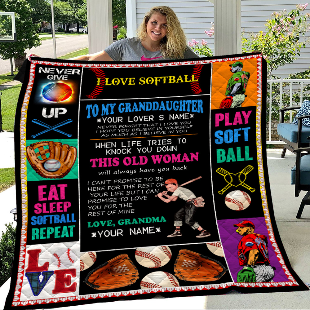 Personalized Quilt Throw Blanket To My Softball Granddaughter This Old Woman Will Always Have Your Back Lightweight Super Soft Cozy For Decorative Couch Sofa Bed