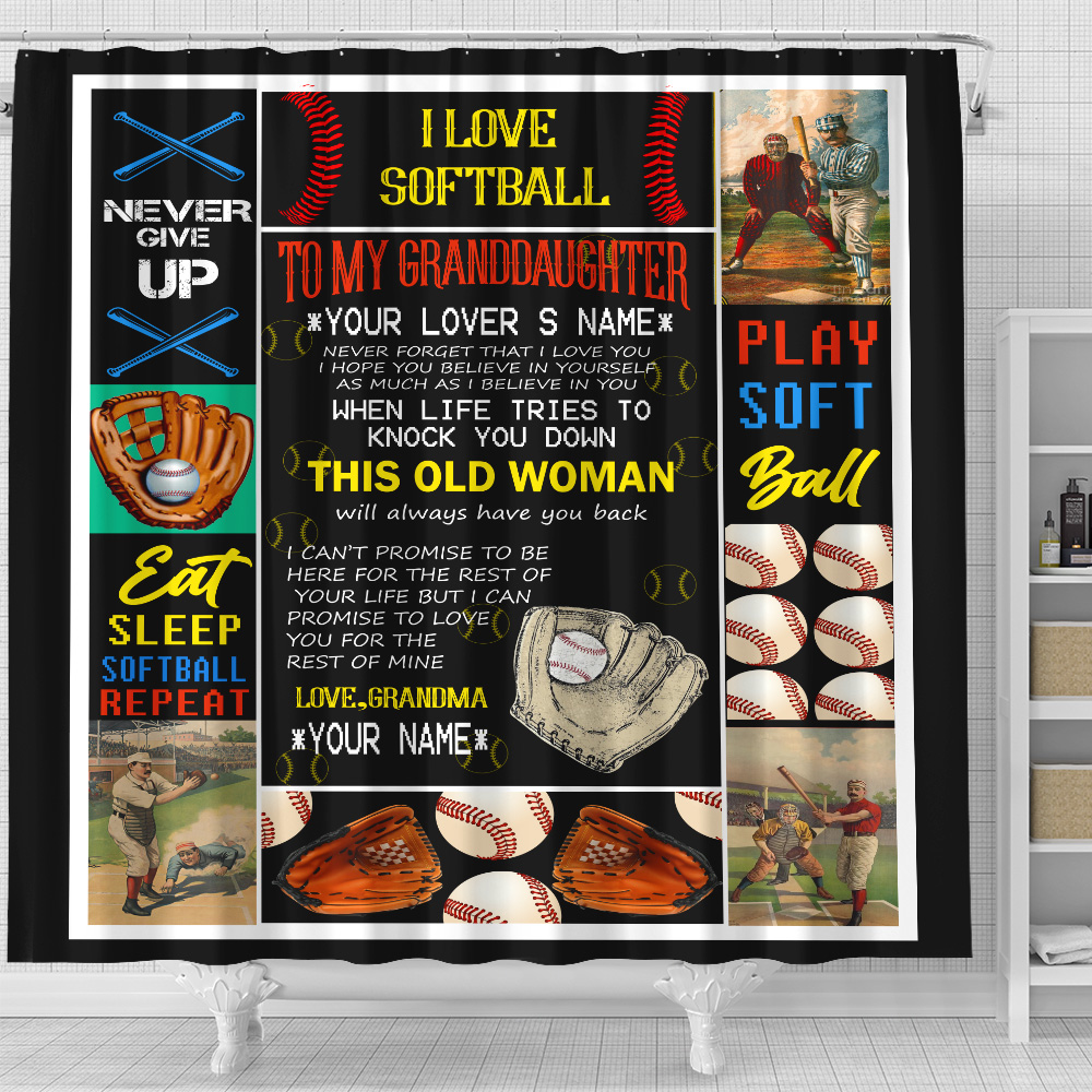 Personalized Shower Curtain 71 X 71 Inch To My Softball Granddaughter This Old Woman Will Always Have Your Back Set 12 Hooks Decorative Bath Modern Bathroom Accessories Machine Washable