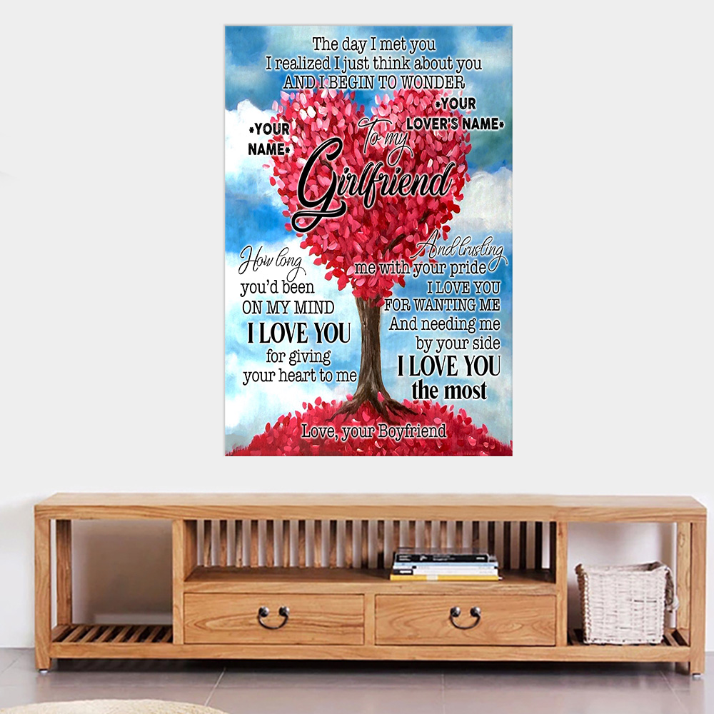 Personalized Lovely Wall Art Poster To My Girlfriend I Love You For Giving Your Heart To Me Pattern 1 Prints Decoracion Wall Art Picture Living Room Wall