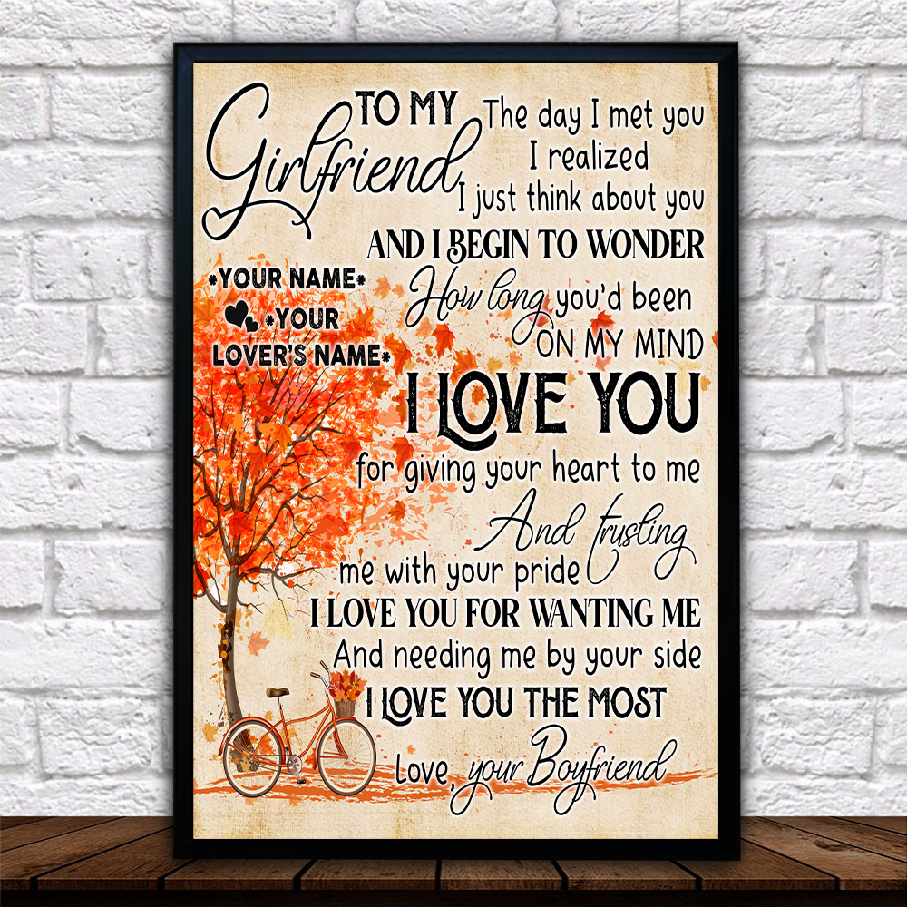 Personalized Lovely Wall Art Poster To My Girlfriend I Love You For Giving Your Heart To Me Pattern 2 Prints Decoracion Wall Art Picture Living Room Wall