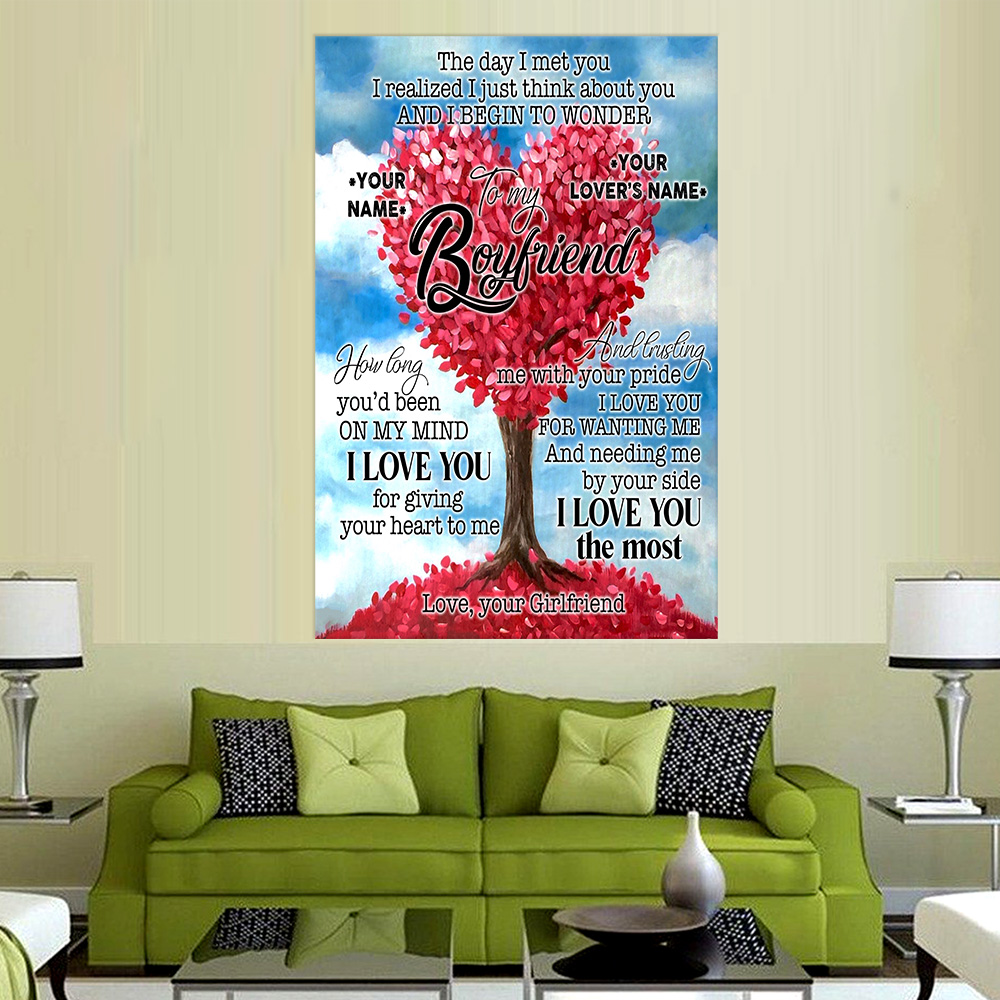 Personalized Lovely Wall Art Poster To My Boyfriend I Love You For Giving Your Heart To Me Pattern 1 Prints Decoracion Wall Art Picture Living Room Wall