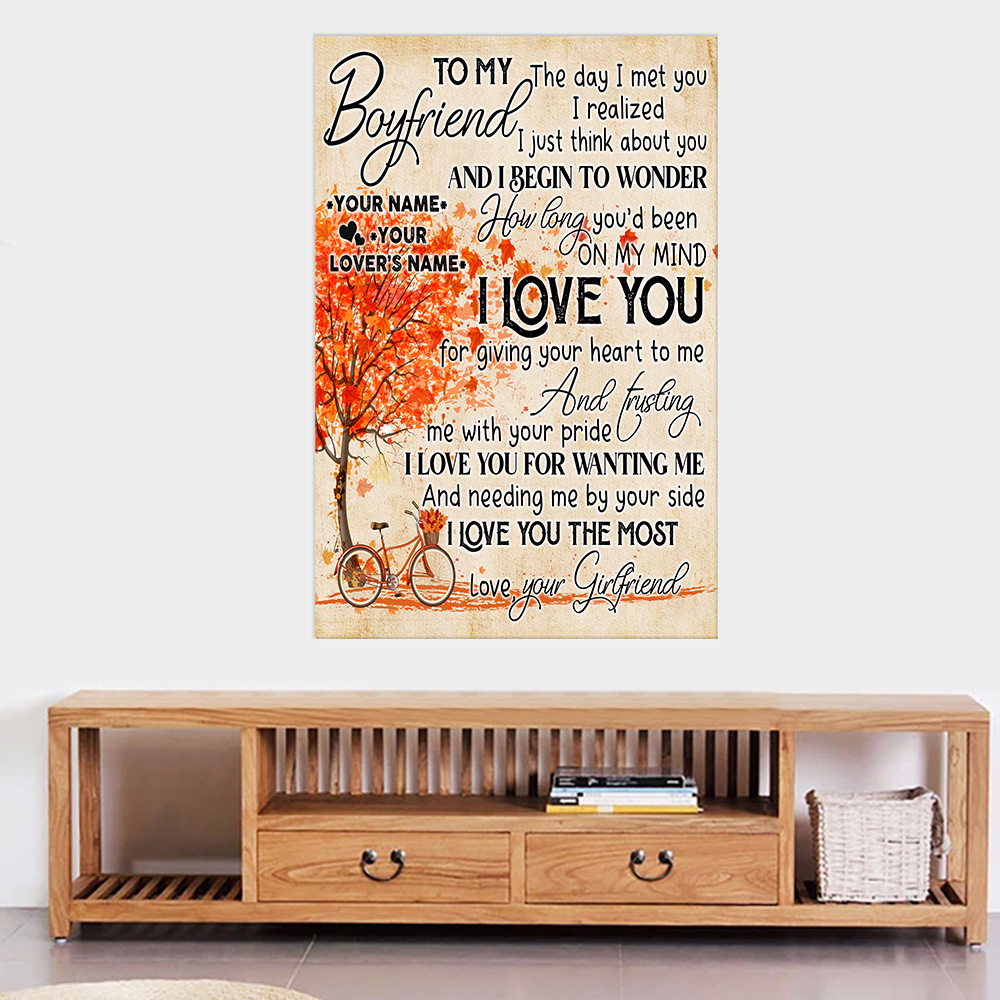 Personalized Lovely Wall Art Poster To My Boyfriend I Love You For Giving Your Heart To Me Pattern 2 Prints Decoracion Wall Art Picture Living Room Wall