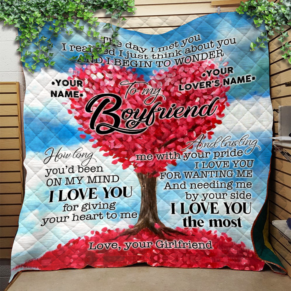 Personalized Lovely Quilt Throw Blanket To My Boyfriend I Love You For Giving Your Heart To Me Pattern 1 Lightweight Super Soft Cozy For Decorative Couch Sofa Bed