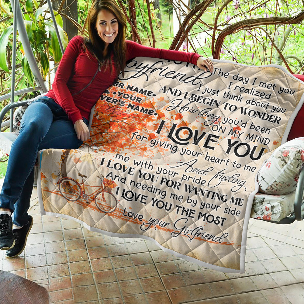 Personalized Lovely Quilt Throw Blanket To My Boyfriend I Love You For Giving Your Heart To Me Pattern 2 Lightweight Super Soft Cozy For Decorative Couch Sofa Bed