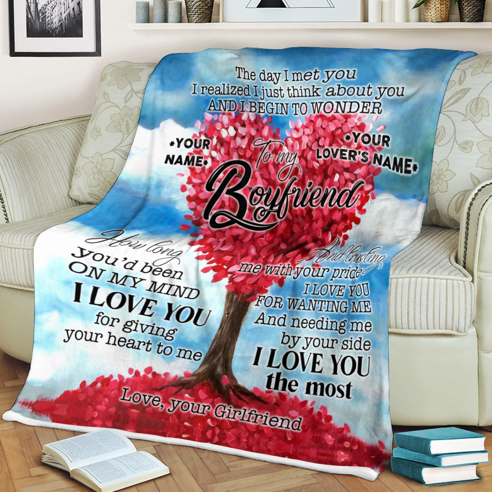 Personalized Lovely Fleece Throw Blanket To My Boyfriend I Love You For Giving Your Heart To Me Pattern 1 Lightweight Super Soft Cozy For Decorative Couch Sofa Bed