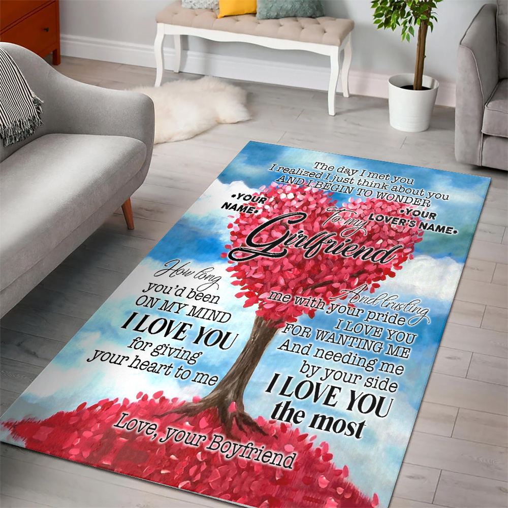Personalized Lovely To My Girlfriend I Love You For Giving Your Heart To Me Pattern 1 Vintage Area Rug Anti-Skid Floor Carpet For Living Room Dinning Room Bedroom Office