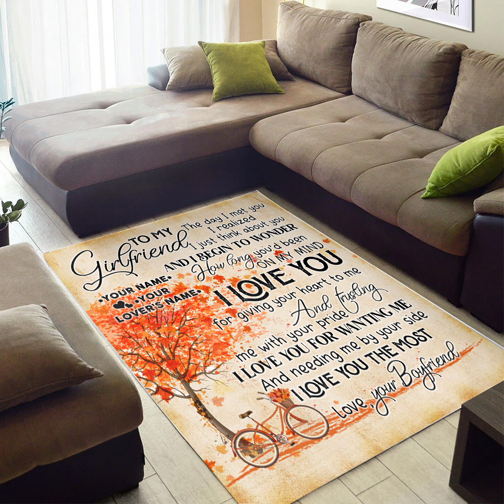 Personalized Lovely To My Girlfriend I Love You For Giving Your Heart To Me Pattern 2 Vintage Area Rug Anti-Skid Floor Carpet For Living Room Dinning Room Bedroom Office