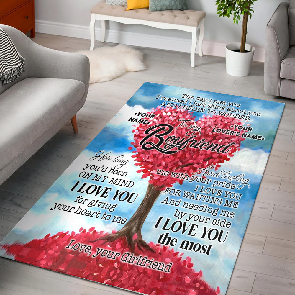 Personalized Lovely To My Boyfriend I Love You For Giving Your Heart To Me Pattern 1 Vintage Area Rug Anti-Skid Floor Carpet For Living Room Dinning Room Bedroom Office