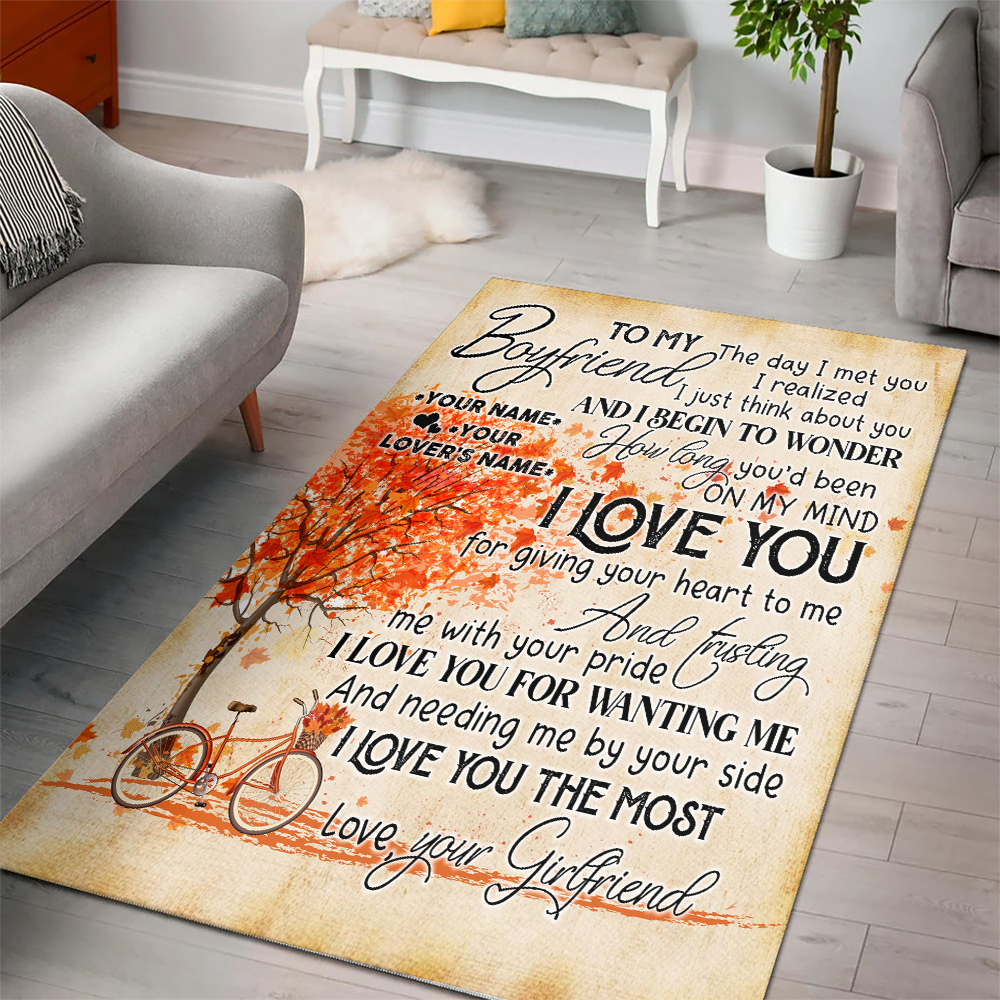 Personalized Lovely To My Boyfriend I Love You For Giving Your Heart To Me Pattern 2 Vintage Area Rug Anti-Skid Floor Carpet For Living Room Dinning Room Bedroom Office