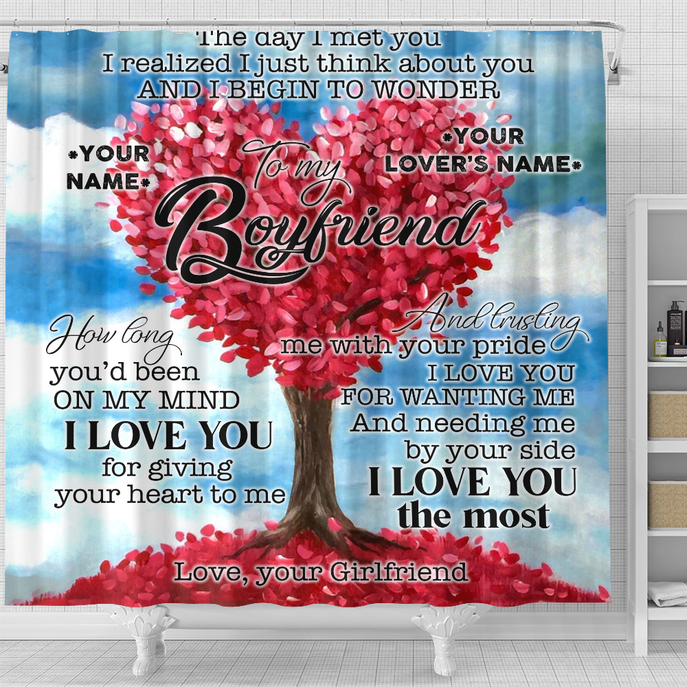 Personalized Lovely Shower Curtain To My Boyfriend I Love You For Giving Your Heart To Me Pattern 1 Set 12 Hooks Decorative Bath Modern Bathroom Accessories Machine Washable