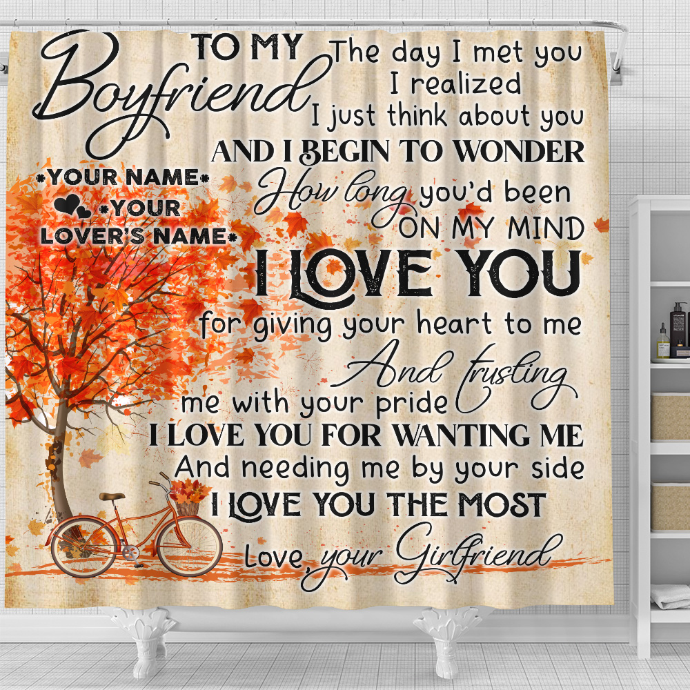 Personalized Lovely Shower Curtain To My Boyfriend I Love You For Giving Your Heart To Me Pattern 2 Set 12 Hooks Decorative Bath Modern Bathroom Accessories Machine Washable
