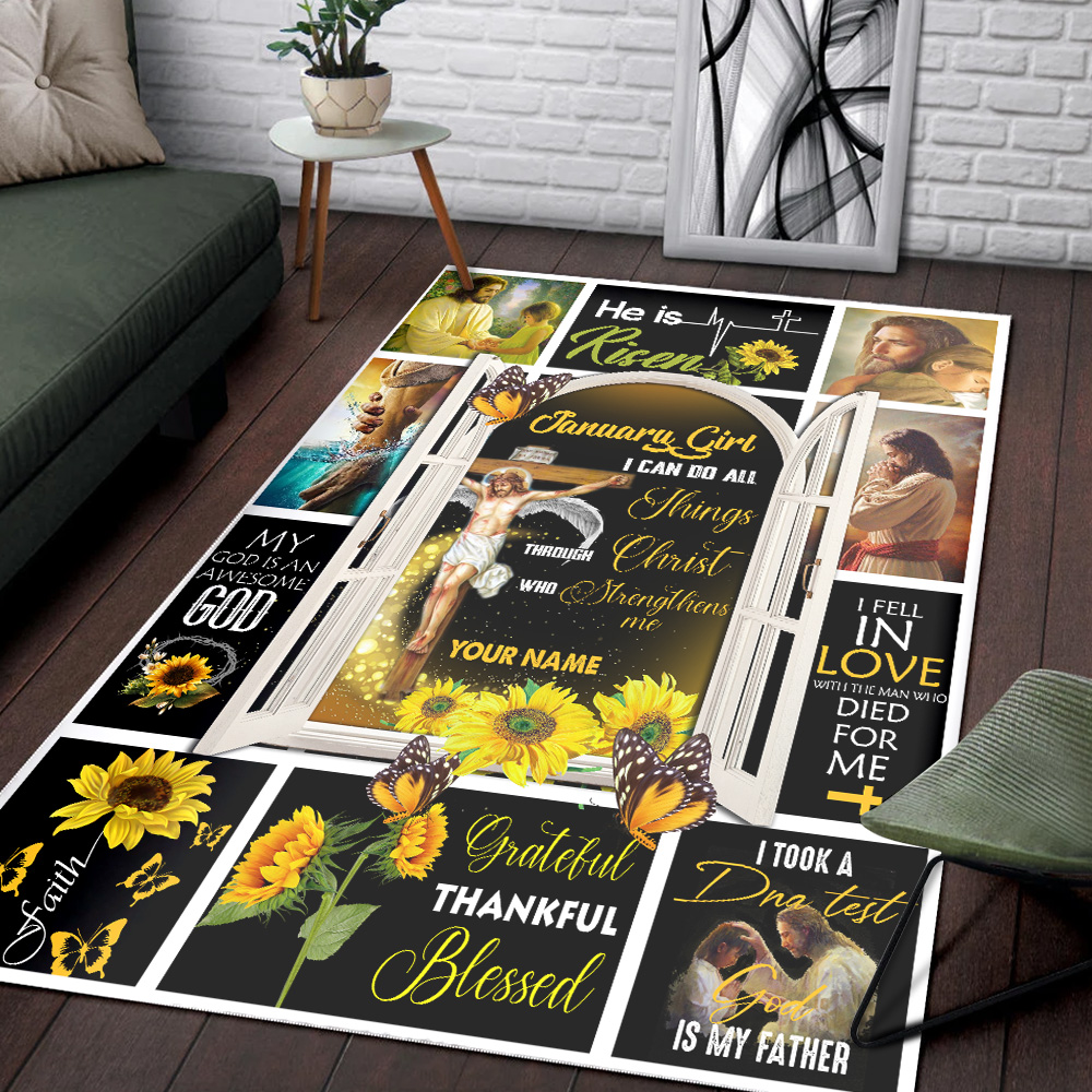 Personalized January Girl I Can Do All Things Through Christ Who Strengthens Me Pattern 1 Vintage Area Rug Anti-Skid Floor Carpet For Living Room Dinning Room Bedroom Office