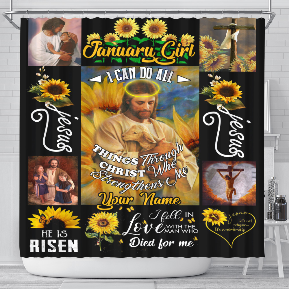 Personalized Shower Curtain January Girl I Can Do All Things Through Christ Who Strengthens Me Pattern 2 Set 12 Hooks Decorative Bath Modern Bathroom Accessories Machine Washable