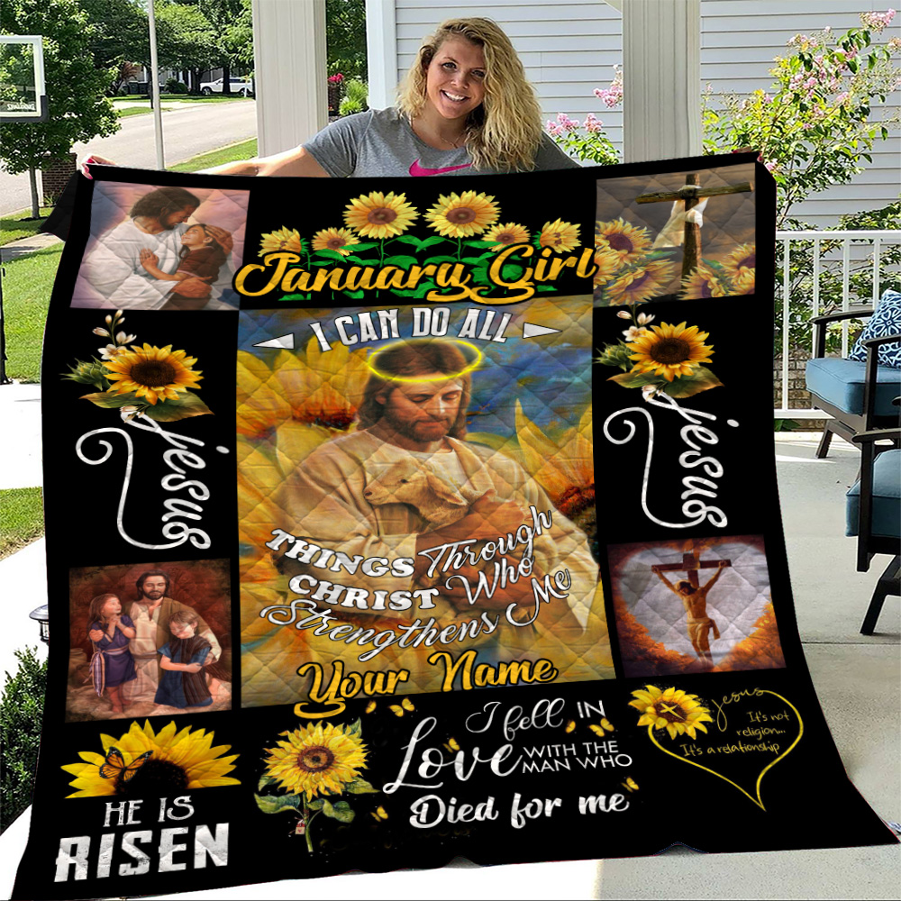 Personalized Quilt Throw Blanket January Girl I Can Do All Things Through Christ Who Strengthens Me Pattern 2 Lightweight Super Soft Cozy For Decorative Couch Sofa Bed