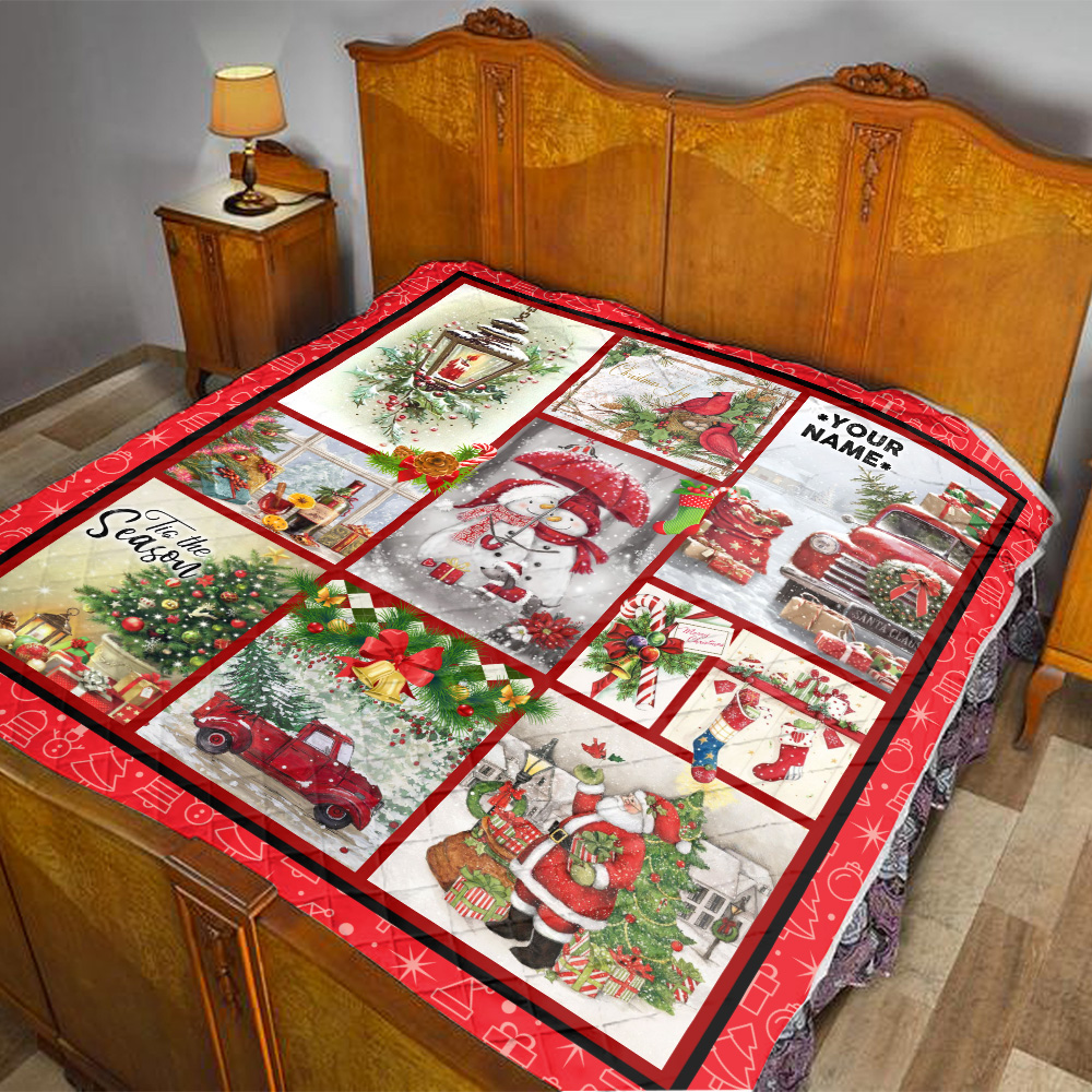 Personalized Quilt Throw Blanket Vintage Christmas Joy To The World Pattern 2 Lightweight Super Soft Cozy For Decorative Couch Sofa Bed