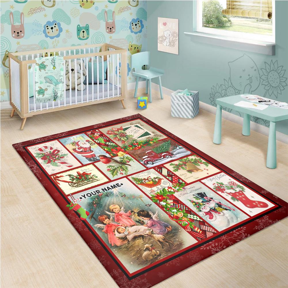Personalized Vintage Christmas Joy To The World Pattern 1 Vintage Area Rug Anti-Skid Floor Carpet For Living Room Dinning Room Bedroom Office