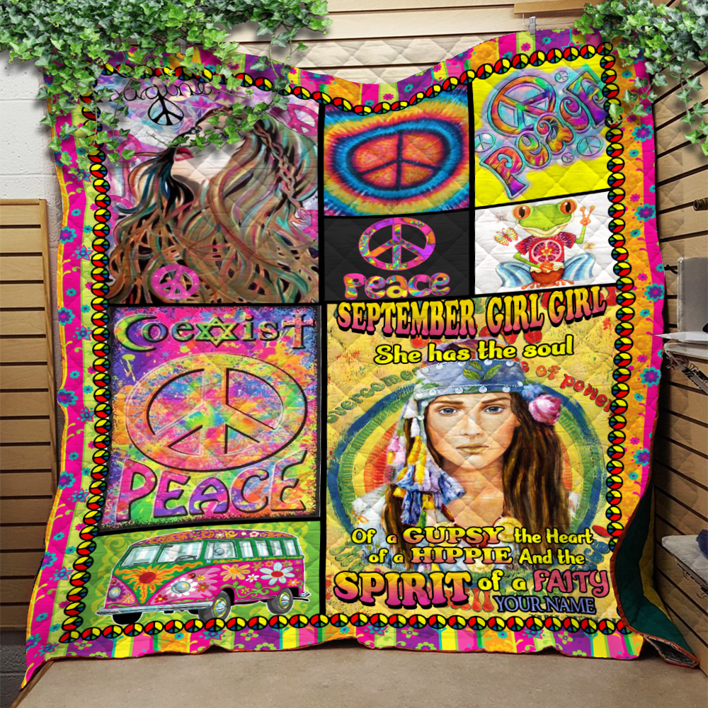 Personalized Quilt Throw Blanket September Girl She Has The Soul , The Heart And The Spirit Of A Fairy Pattern 1 Lightweight Super Soft Cozy For Decorative Couch Sofa Bed