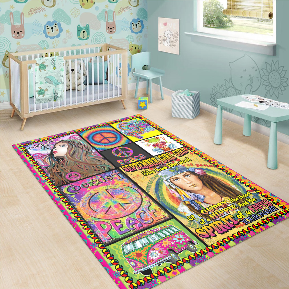 Personalized September Girl She Has The Soul , The Heart And The Spirit Of A Fairy Pattern 1 Vintage Area Rug Anti-Skid Floor Carpet For Living Room Dinning Room Bedroom Office