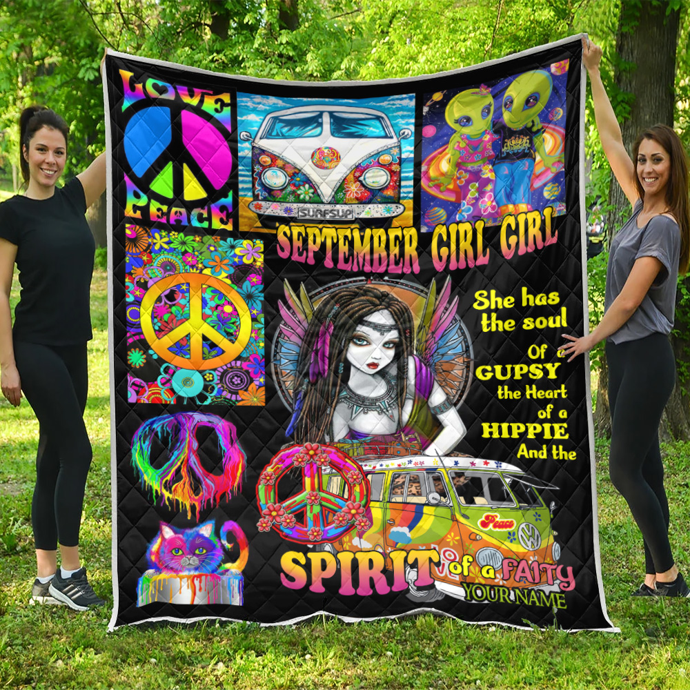 Personalized Quilt Throw Blanket September Girl She Has The Soul , The Heart And The Spirit Of A Fairy Pattern 2 Lightweight Super Soft Cozy For Decorative Couch Sofa Bed
