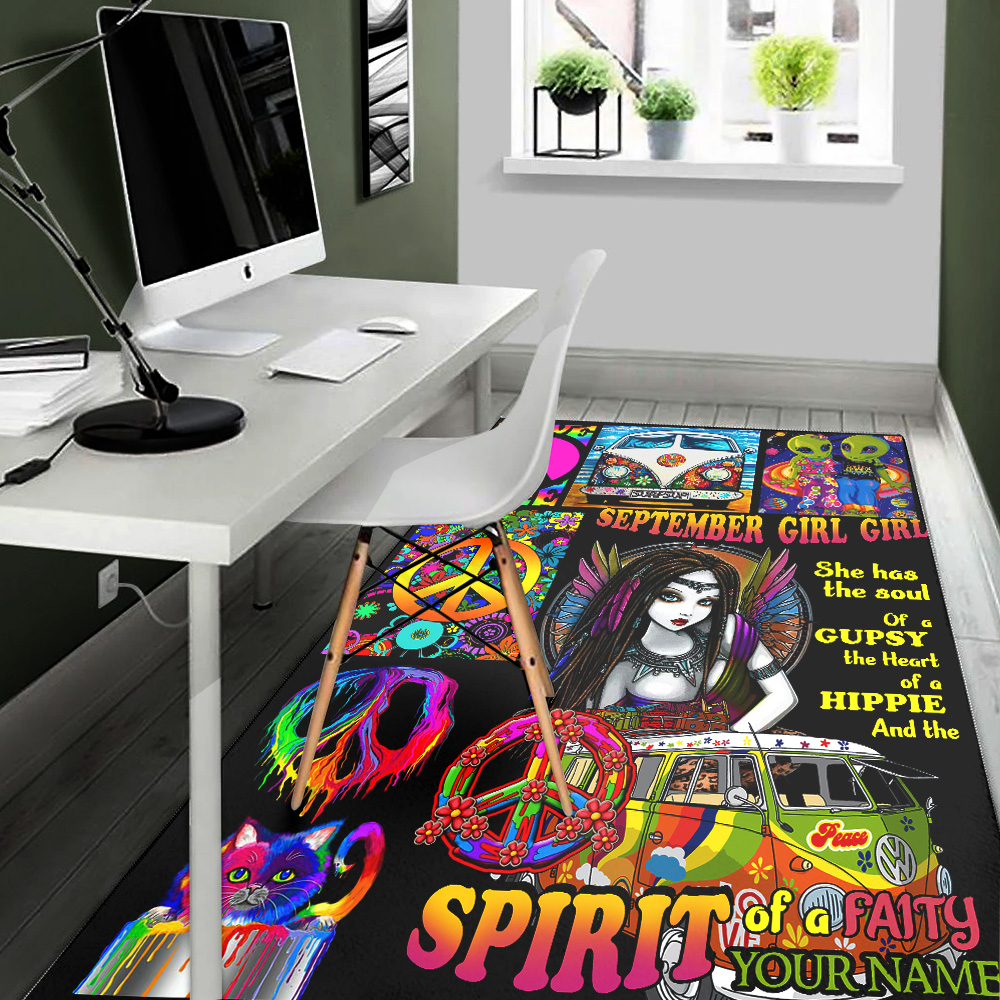 Personalized September Girl She Has The Soul , The Heart And The Spirit Of A Fairy Pattern 2 Vintage Area Rug Anti-Skid Floor Carpet For Living Room Dinning Room Bedroom Office