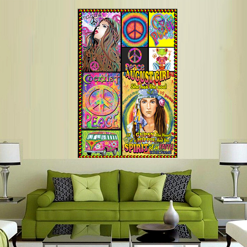 Personalized Wall Art Poster August Girl She Has The Soul , The Hear And The Spirit Of A Fairy Pattern 1 Prints Decoracion Wall Art Picture Living Room Wall