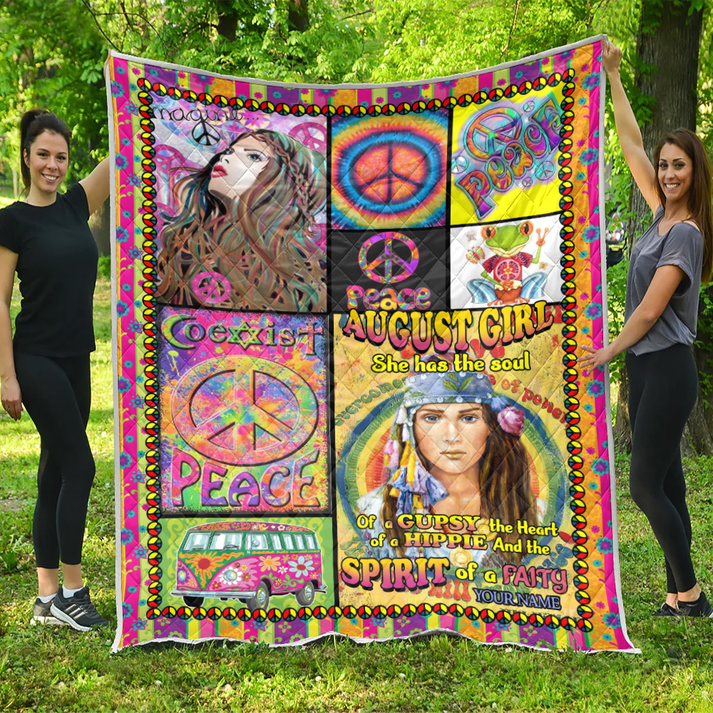 Personalized Quilt Throw Blanket August Girl She Has The Soul , The Hear And The Spirit Of A Fairy Pattern 1 Lightweight Super Soft Cozy For Decorative Couch Sofa Bed