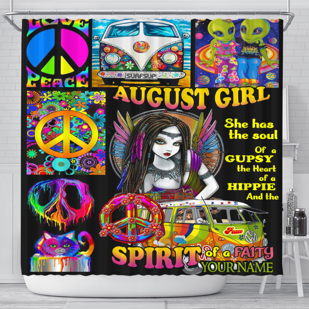 Personalized Shower Curtain August Girl She Has The Soul , The Hear And The Spirit Of A Fairy Pattern 2 Set 12 Hooks Decorative Bath Modern Bathroom Accessories Machine Washable