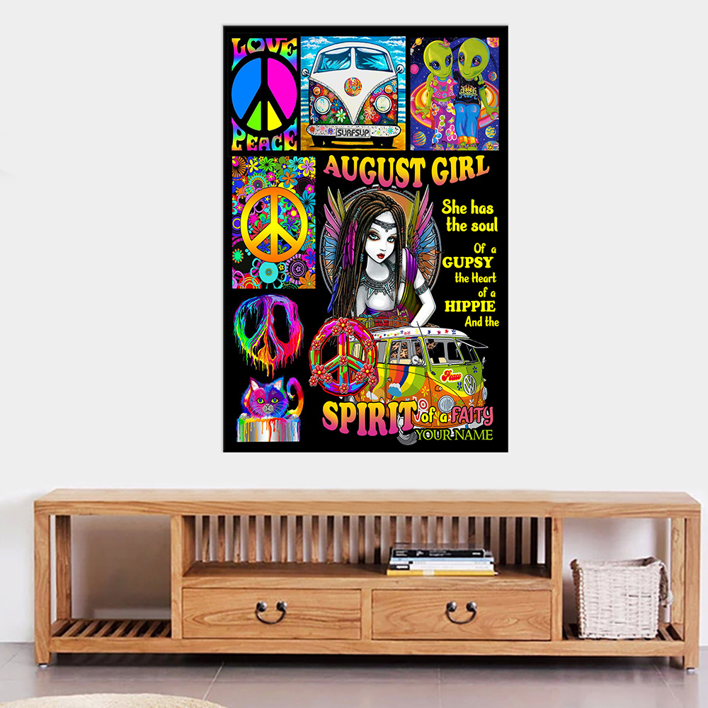 Personalized Wall Art Poster August Girl She Has The Soul , The Hear And The Spirit Of A Fairy Pattern 2 Prints Decoracion Wall Art Picture Living Room Wall