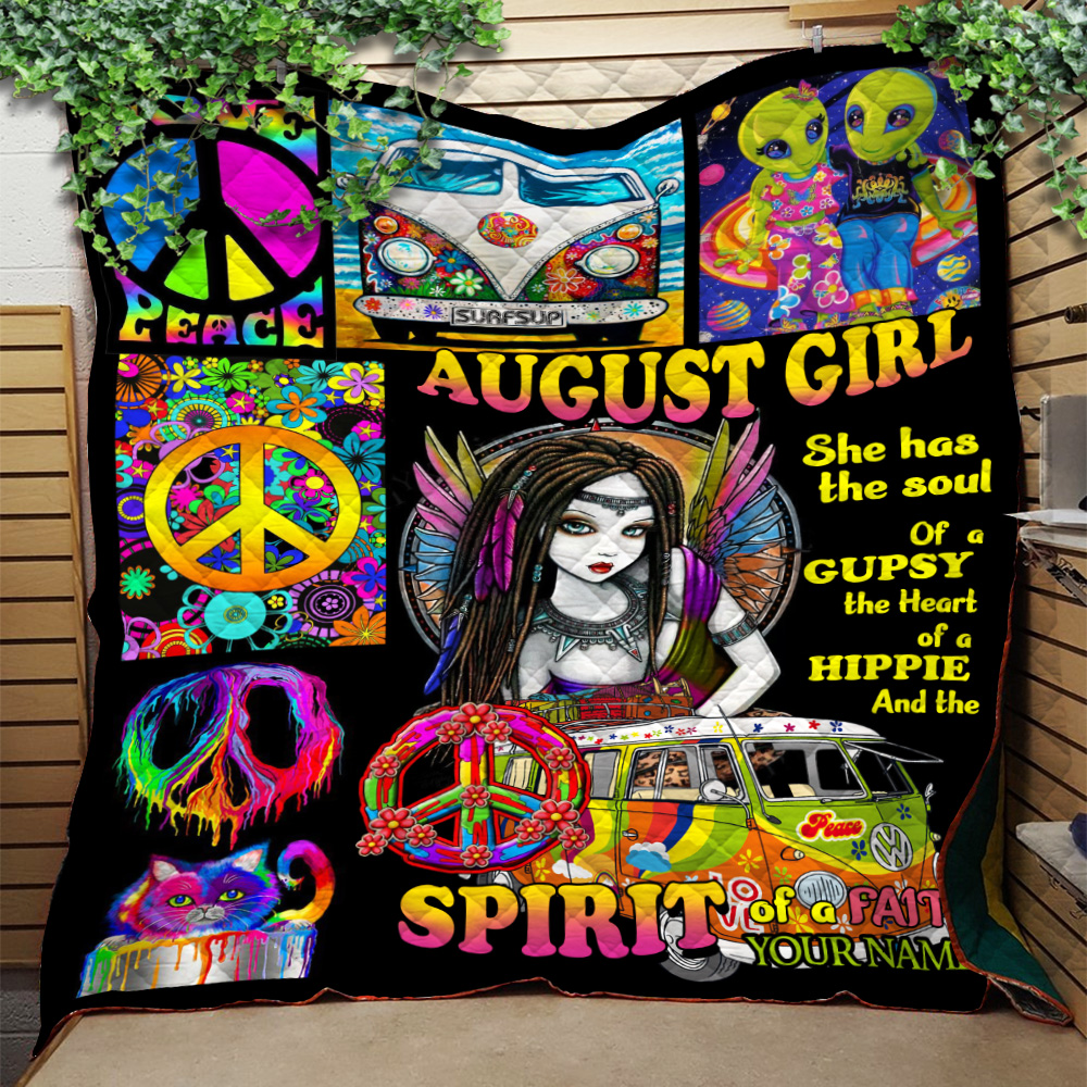 Personalized Quilt Throw Blanket August Girl She Has The Soul , The Hear And The Spirit Of A Fairy Pattern 2 Lightweight Super Soft Cozy For Decorative Couch Sofa Bed