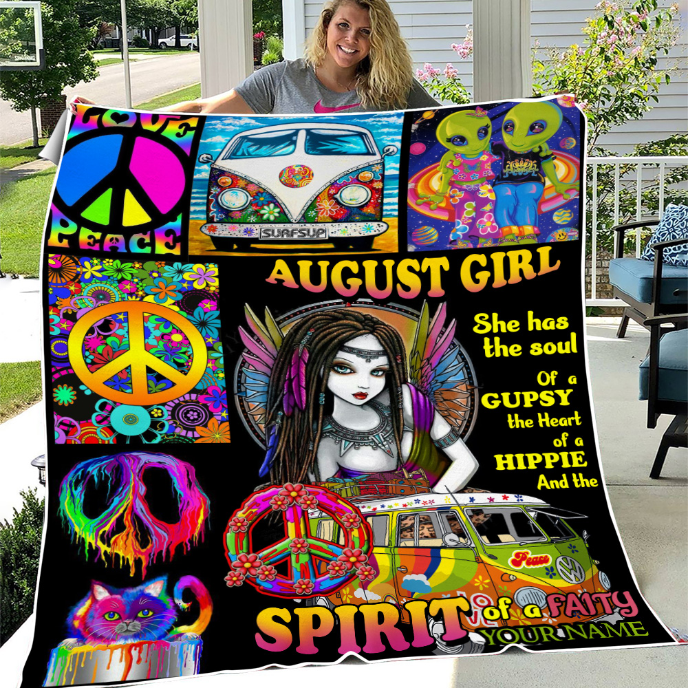 Personalized Fleece Throw Blanket August Girl She Has The Soul , The Hear And The Spirit Of A Fairy Pattern 2 Lightweight Super Soft Cozy For Decorative Couch Sofa Bed