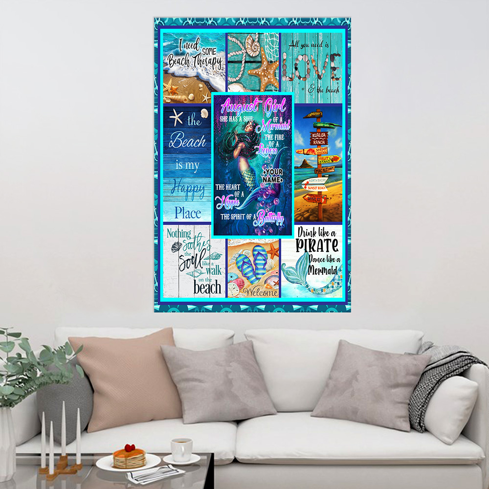 Personalized Wall Art Poster August Girl A Soul Of A Mermaid Pattern 1 Prints Decoracion Wall Art Picture Living Room Wall