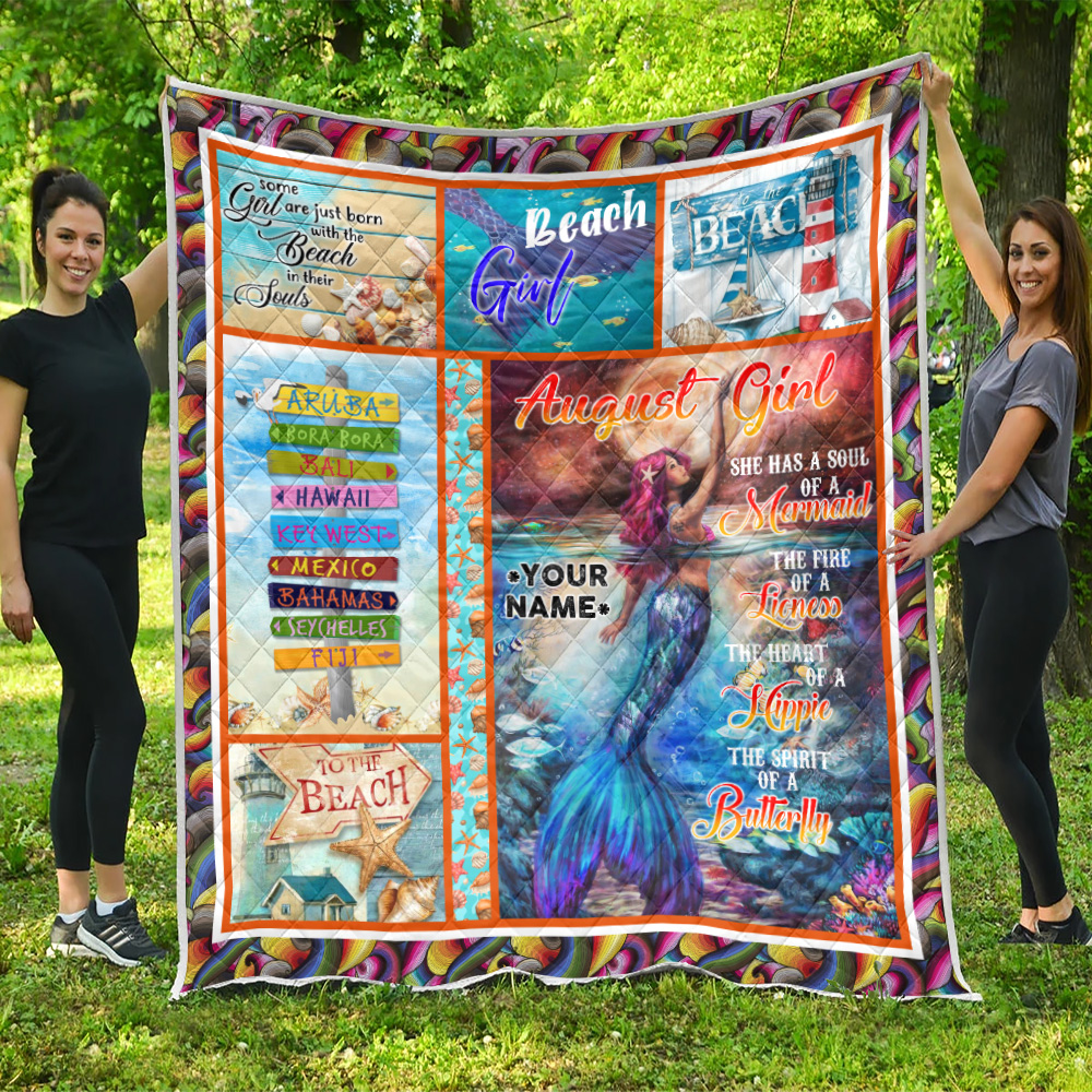 Personalized Quilt Throw Blanket August Girl A Soul Of A Mermaid Pattern 2 Lightweight Super Soft Cozy For Decorative Couch Sofa Bed