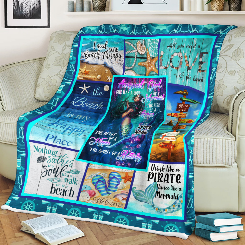 Personalized Fleece Throw Blanket August Girl A Soul Of A Mermaid Pattern 1 Lightweight Super Soft Cozy For Decorative Couch Sofa Bed