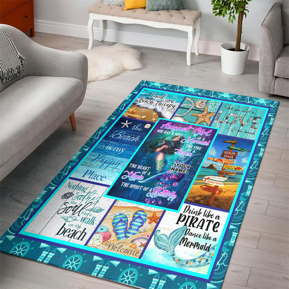 Personalized August Girl A Soul Of A Mermaid Pattern 1 Vintage Area Rug Anti-Skid Floor Carpet For Living Room Dinning Room Bedroom Office