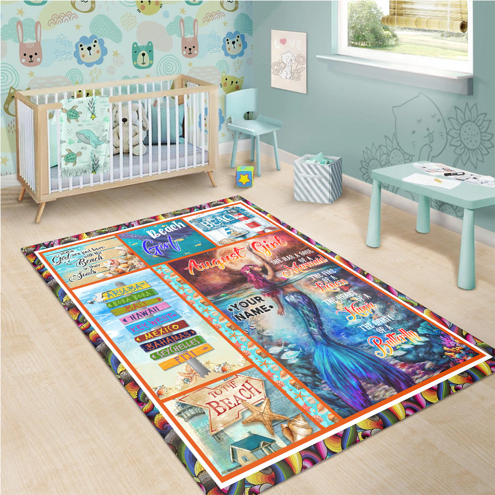 Personalized August Girl A Soul Of A Mermaid Pattern 2 Vintage Area Rug Anti-Skid Floor Carpet For Living Room Dinning Room Bedroom Office