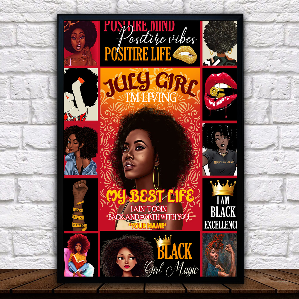 Personalized Wall Art Poster July Girl I'm Living My Best Life Pattern 1 Prints Decoracion Wall Art Picture Living Room Wall