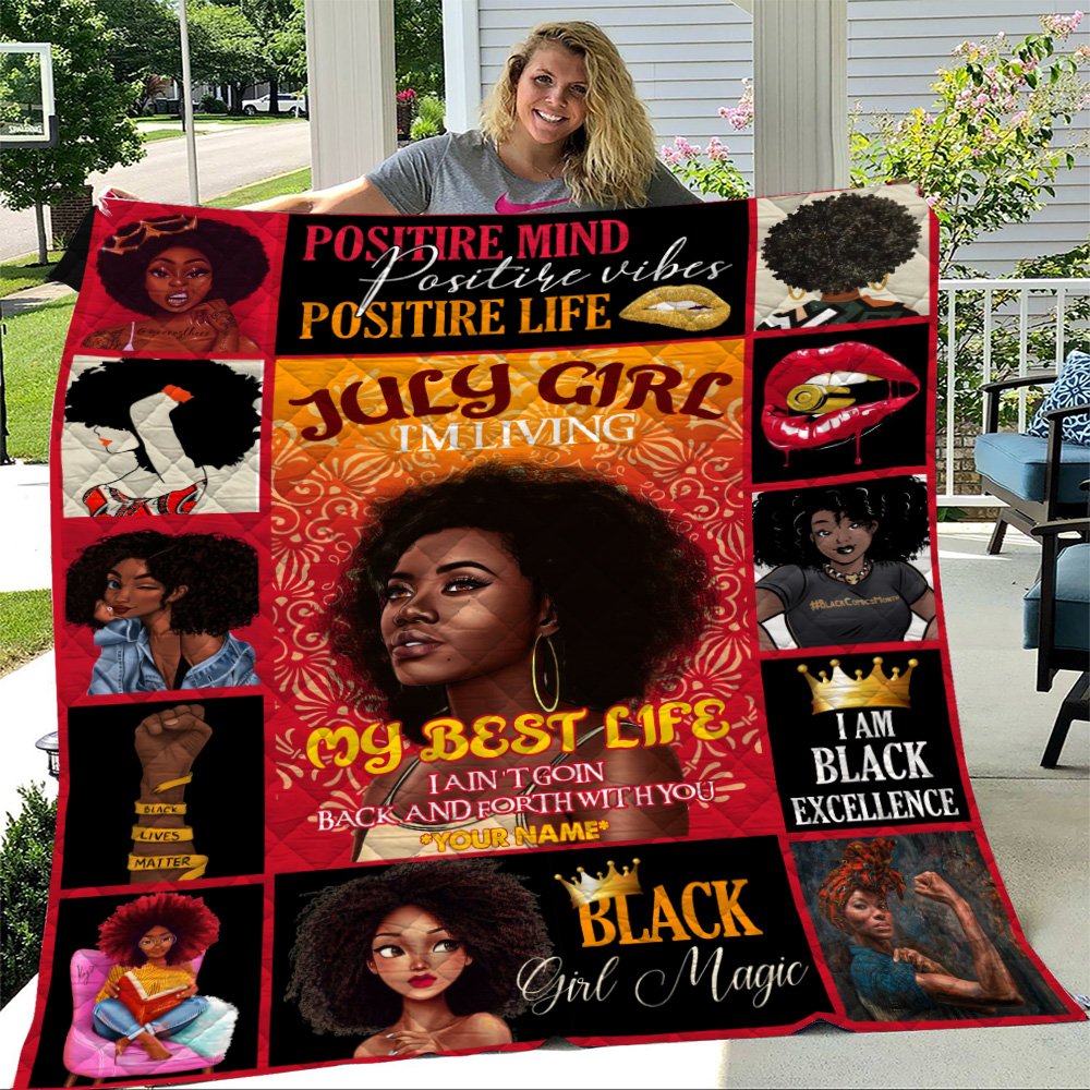 Personalized Quilt Throw Blanket July Girl I'm Living My Best Life Pattern 1 Lightweight Super Soft Cozy For Decorative Couch Sofa Bed