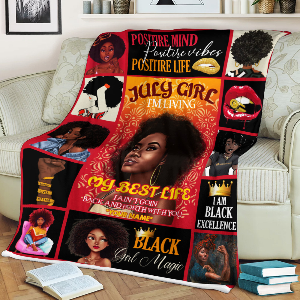 Personalized Fleece Throw Blanket July Girl I'm Living My Best Life Pattern 1 Lightweight Super Soft Cozy For Decorative Couch Sofa Bed