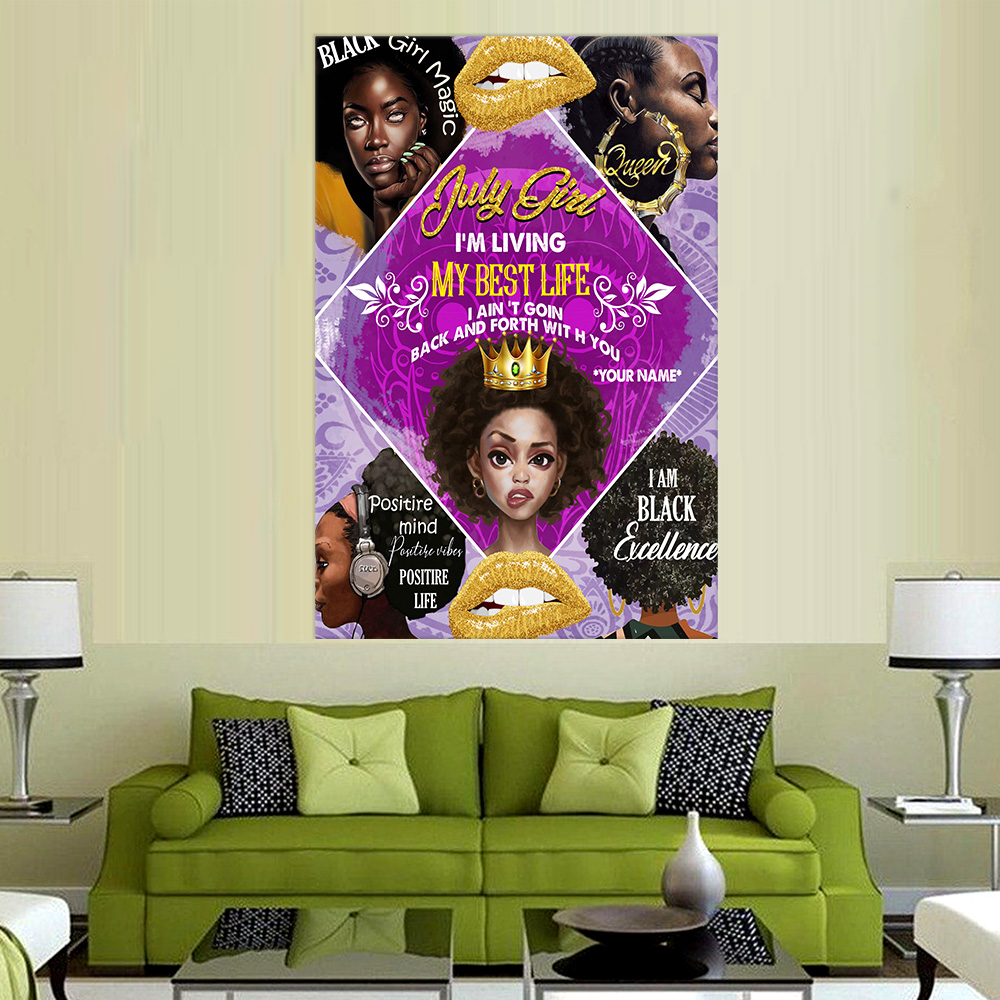 Personalized Wall Art Poster July Girl I'm Living My Best Life Pattern 2 Prints Decoracion Wall Art Picture Living Room Wall