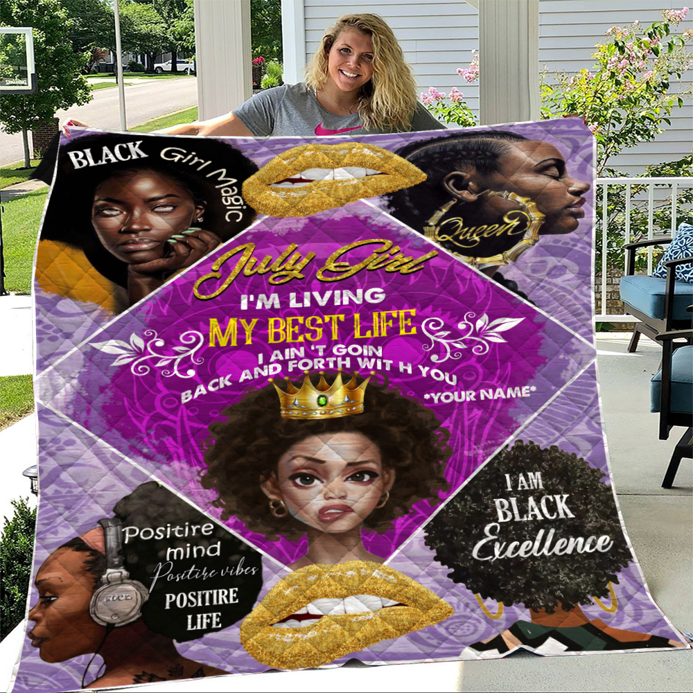 Personalized Quilt Throw Blanket July Girl I'm Living My Best Life Pattern 2 Lightweight Super Soft Cozy For Decorative Couch Sofa Bed
